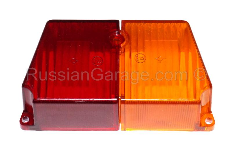 Sidecar rear light glass lens (red and amber) URAL...