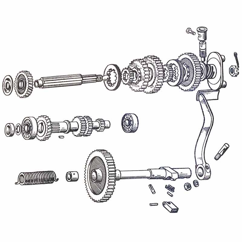Gearbox shafts and gears